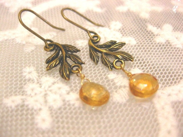 Ray of sunshine. citrine gemstone earrings. vintage inspired.