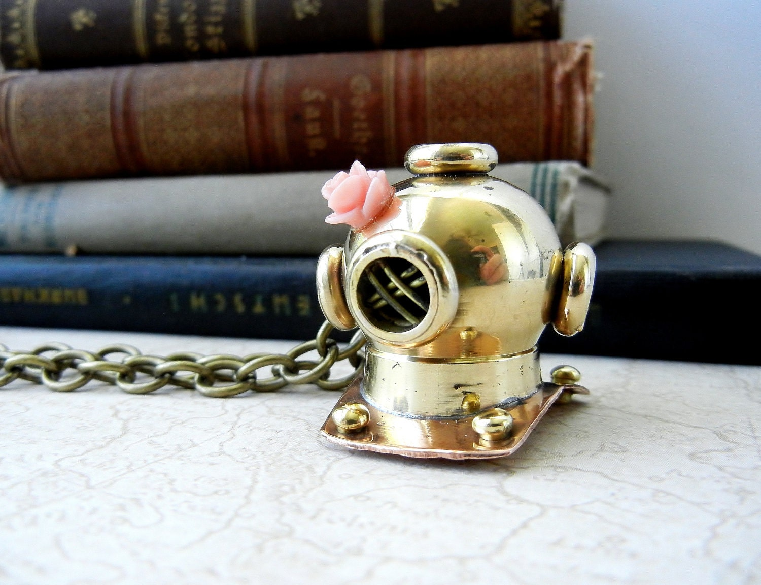 Necklace Nautical Dive Helmet Brass Pendant Light Pink Rose Charm