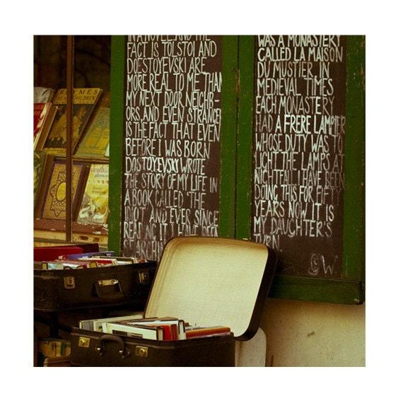 SAVE 25% Paris Bookstore Fine Art Photograph, Literary Decor, Paris Vintage Books Chalkboard Decor - In Good Company (8x8) - MelanieAlexandra