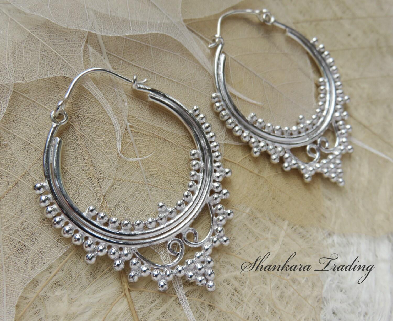 White Brass Tribal Earrings Gypsy Hoop Earrings Tribal Brass Earrings Silver Hoop Earrings Ethnic Earrings Belly Dance Jewelry