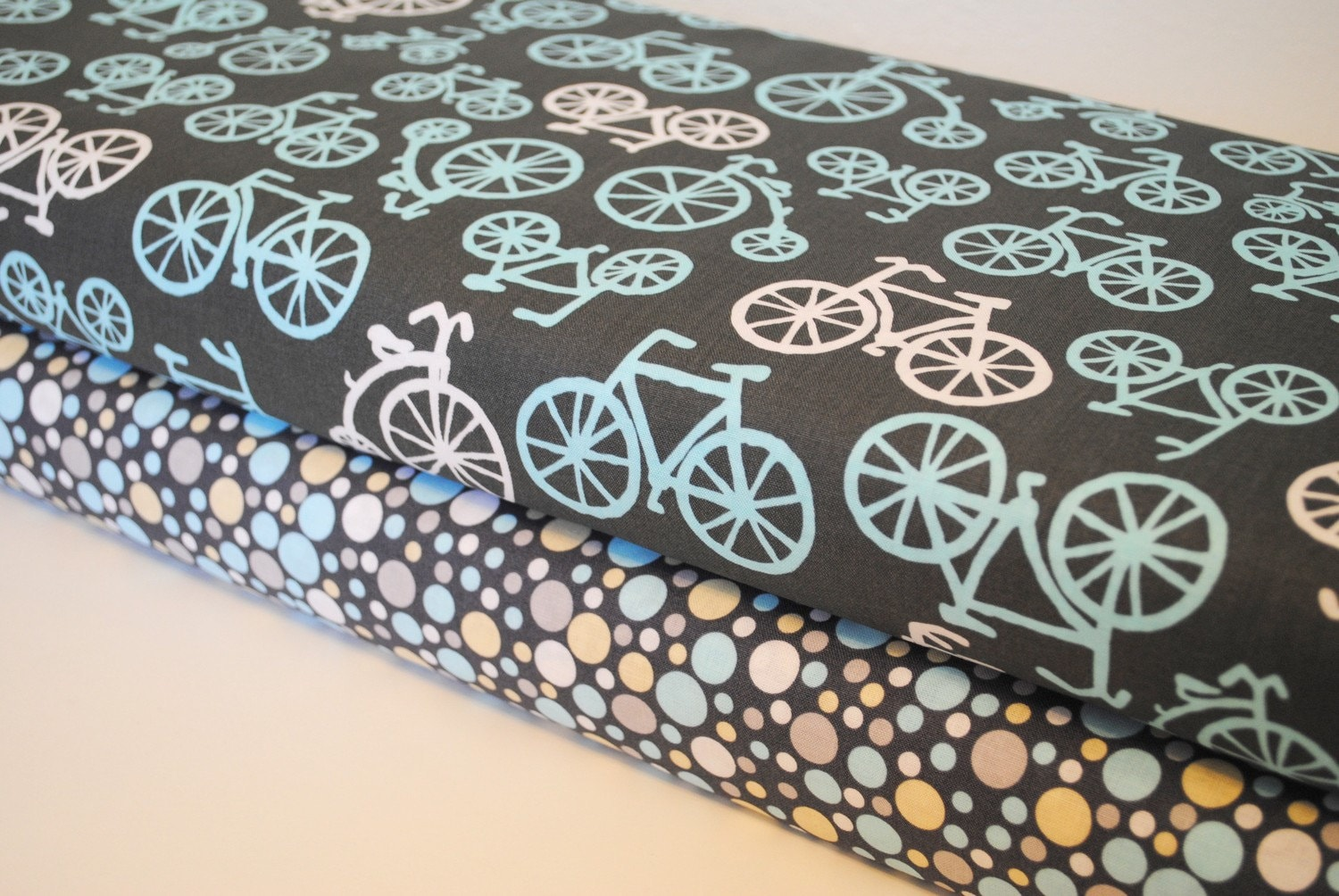 Gray Bicycles and Sea Play Dot by Michael Miller 1 Yard set of 2