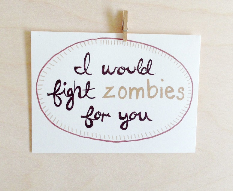 Zombie anniversary card geeky by foxandwit