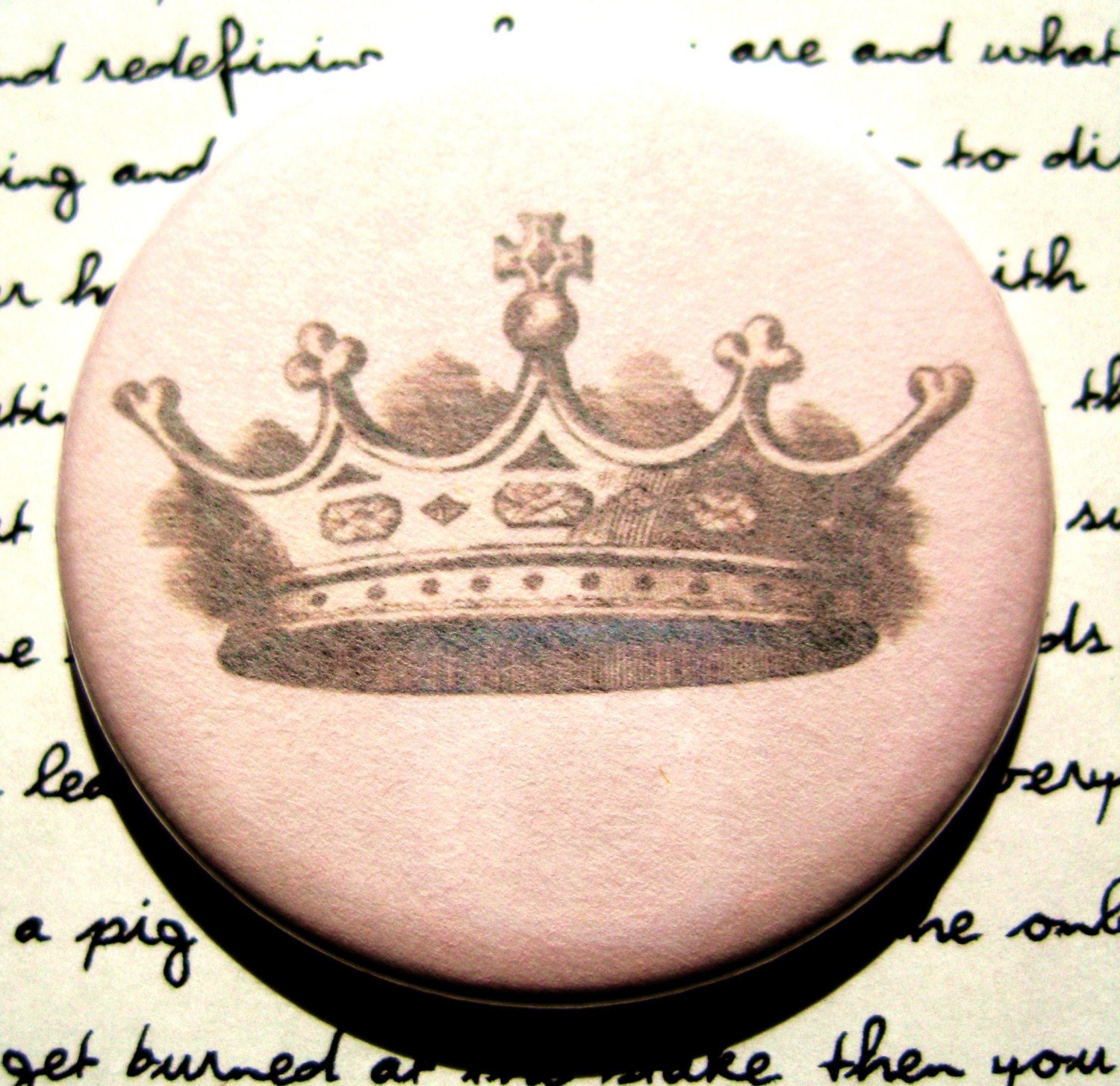 Pocket Mirror - Crown on Soft Pink