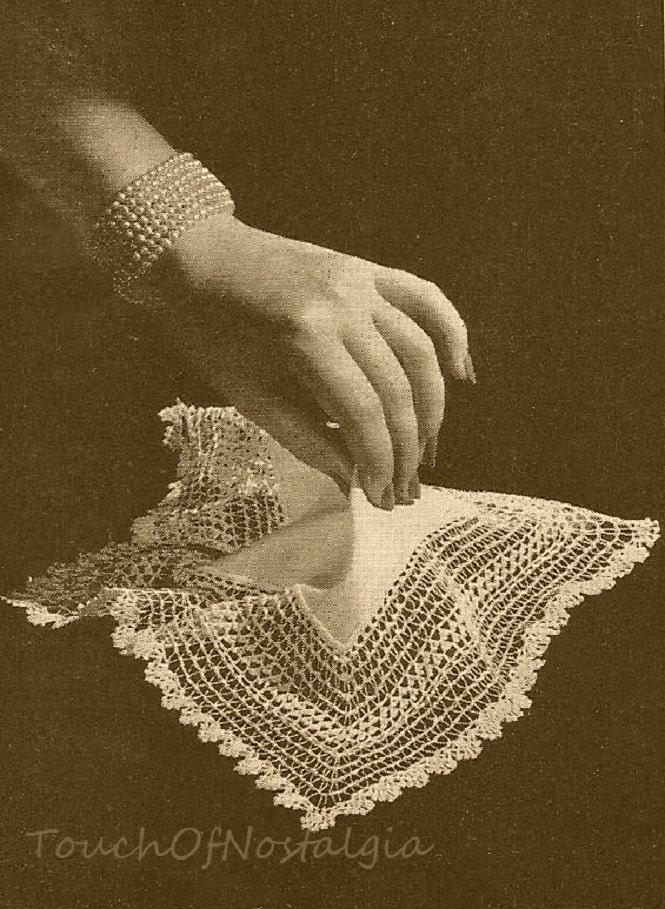 Lacy HANDKERCHIEF Vintage Crochet Pattern by touchofnostalgia7