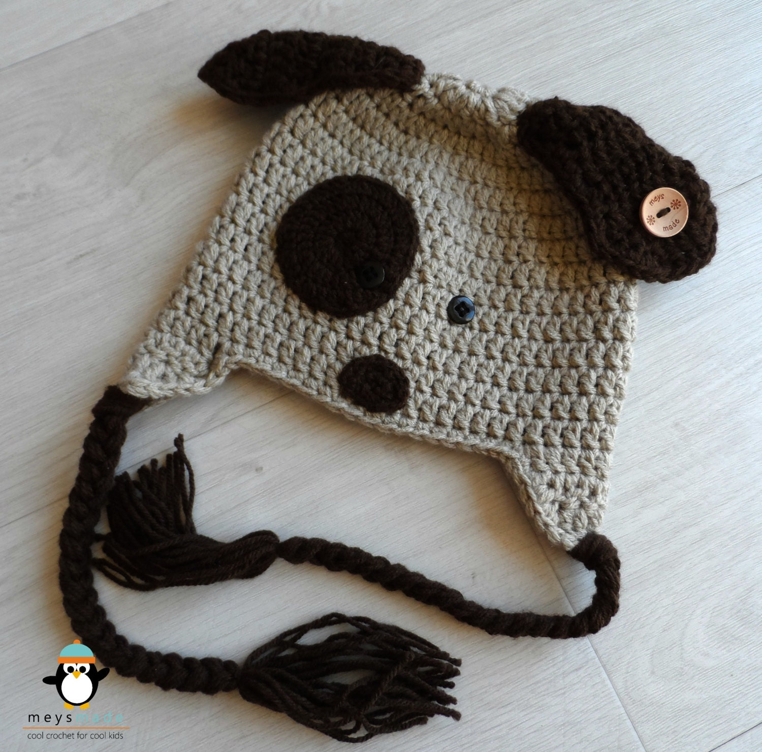 Crochet Puppy Dog Earflap Hat for Unisex Baby or Child Photo Prop - Unique wooden button - Handmade to order in your colour choice - MeysMadeCoolCrochet