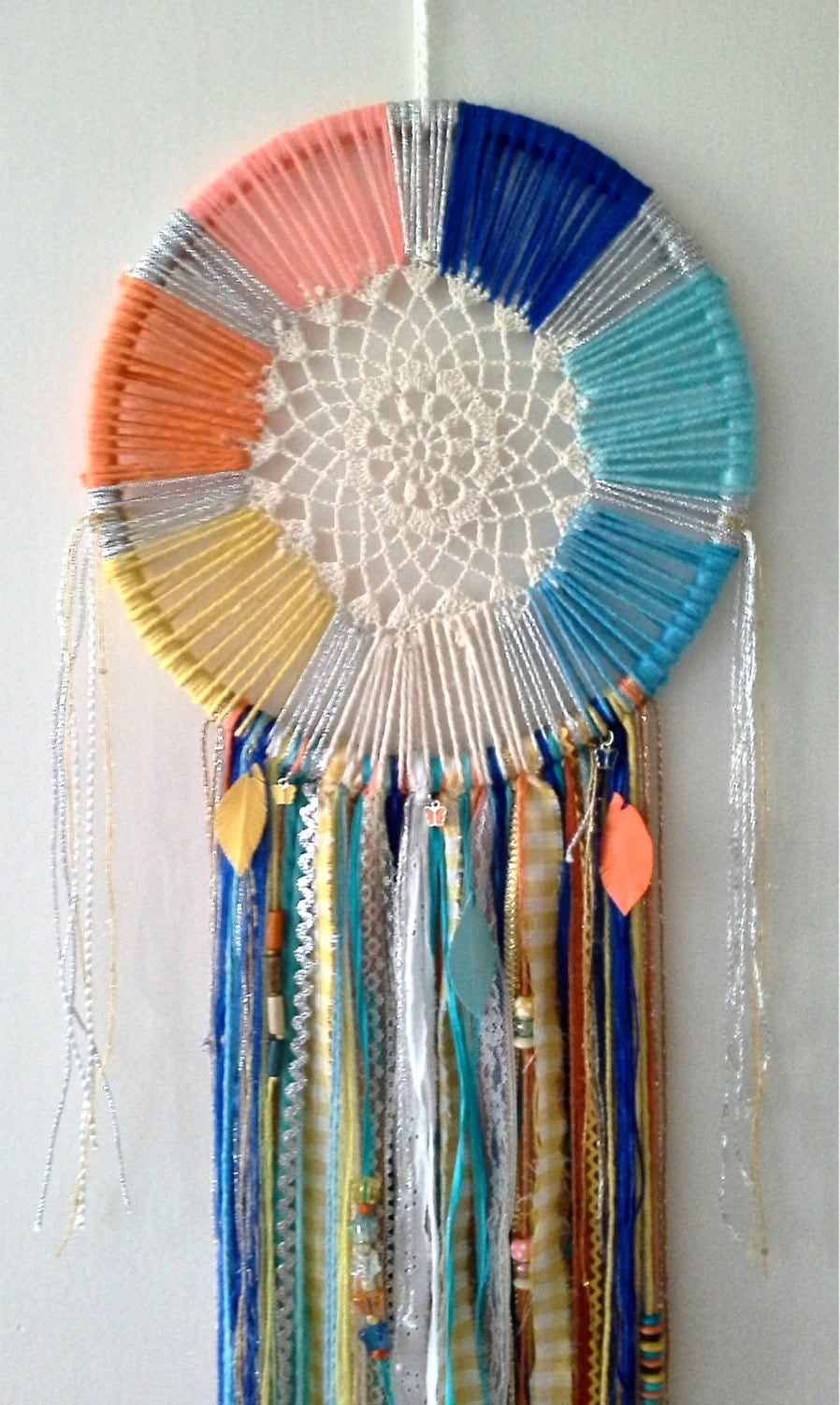 Colorful dreamcatcher with doily beads by stylishstuffbysteph for Dreamcatcher beads meaning
