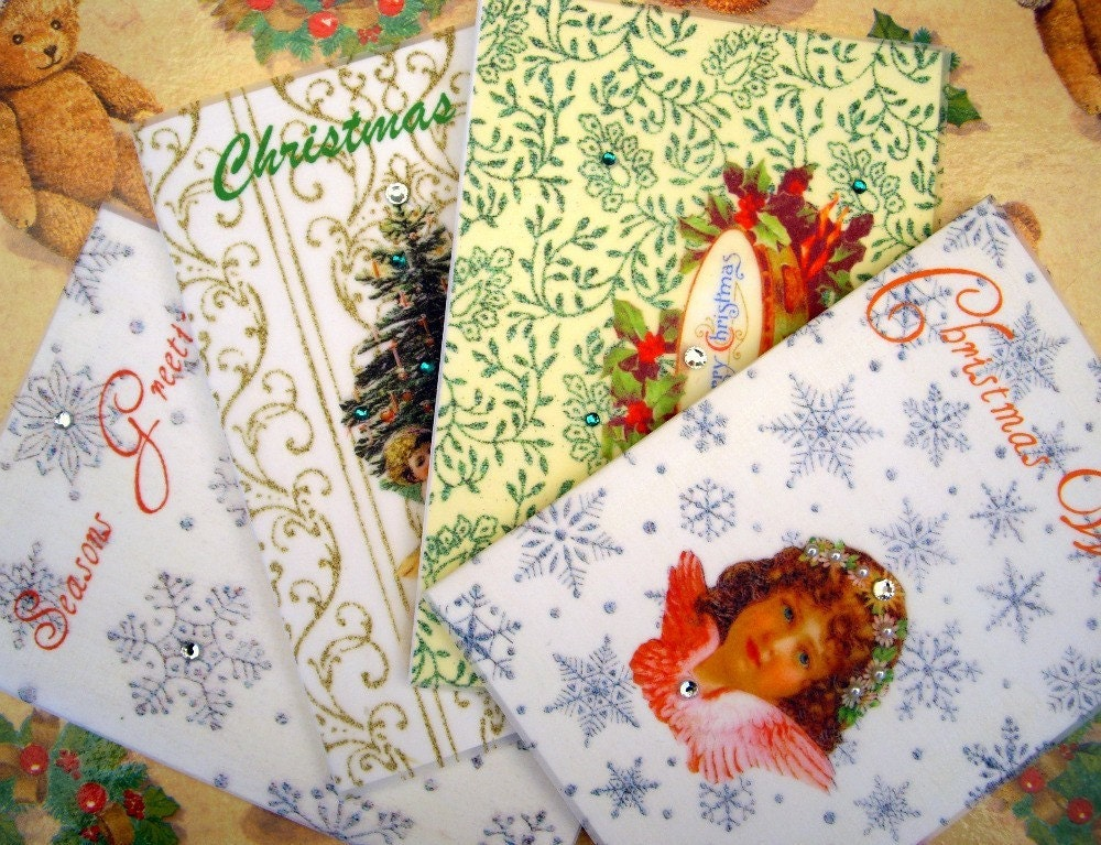 SALE Christmas Card Collection / Assortment Set of 4 / Handmade Greeting Cards