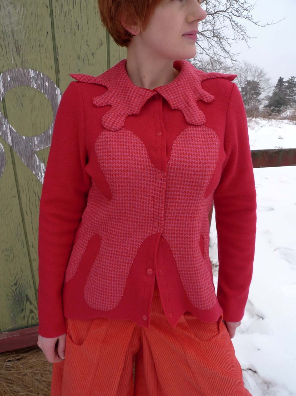 meerwiibli rorschach red pink sweater jacket - meerwiibli