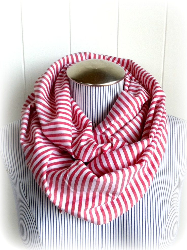 NEW Red & White Pin Striped Infinity Scarf, Fashionable and Nautical Loop Cowl Scarf