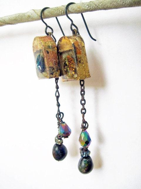 Come In. Rustic Cosmic Mini Shrine Earrings.