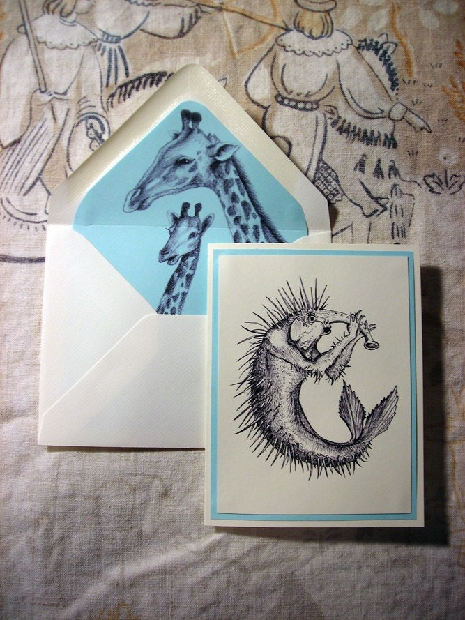 Set of 4 notecards monster demon ink illustration in blue