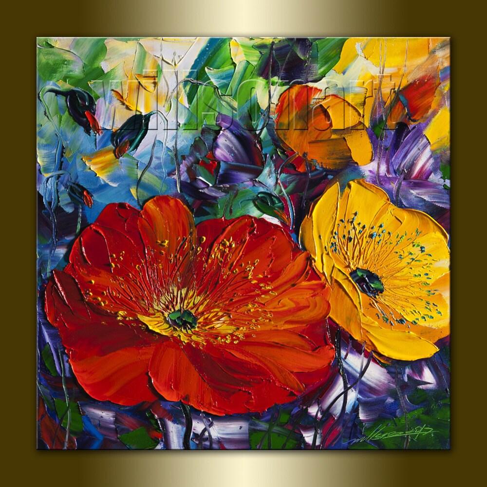 Poppy Poppies Floral Canvas Modern Flower Oil by willsonart