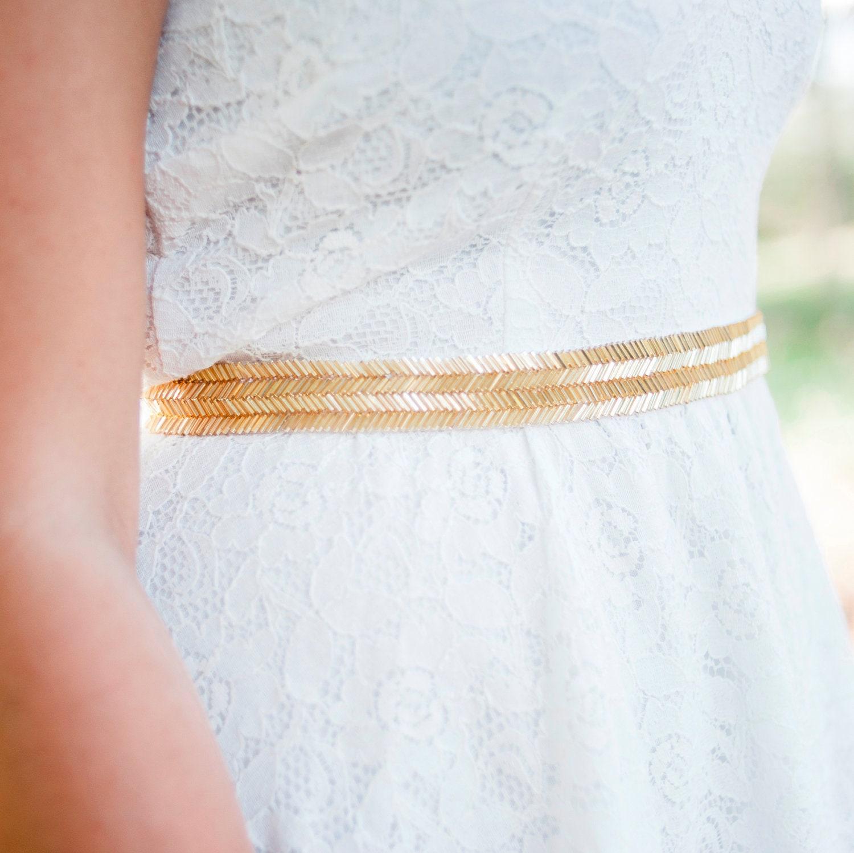Gold wedding belt bridal sash gold by nestinabridesboutiq for Gold belt for wedding dress