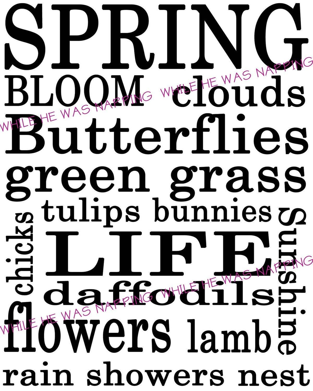 Spring Themed Subway Art Digital Printable