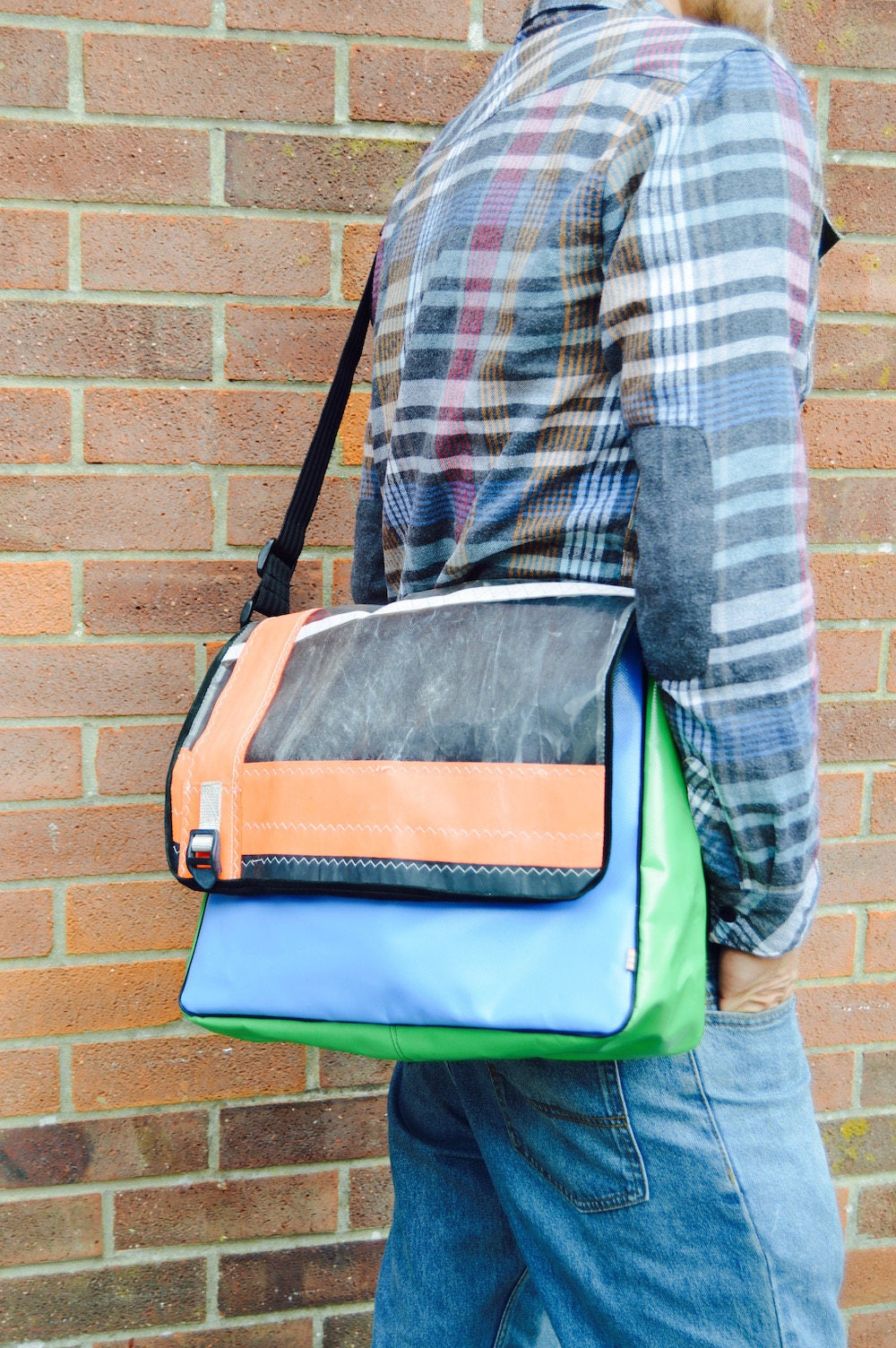 Upcycled Windsurfing Sail  Blue Green Bouncy Castle PVC Unisex Messenger  Courier  Cross Body Bag