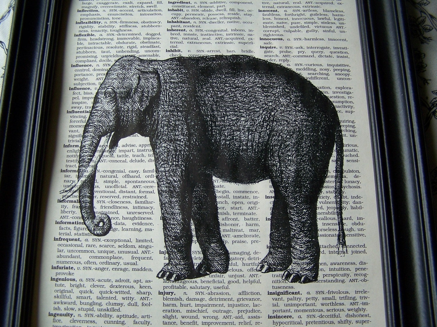 Elly The Elephant Is Here 8 X 10 Elephant Print On Vintage Book Page
