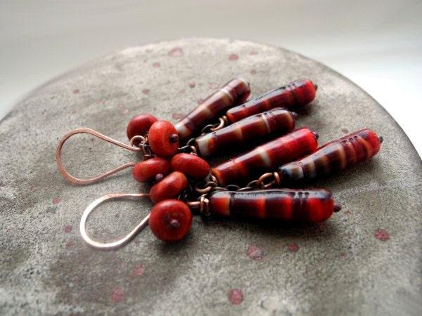 Coral dangle earrings, Copper long gypsy earrings, red Coral and red lampwork beads, boho maroon burgundy oxblood dark red - NurrgulaJewellery