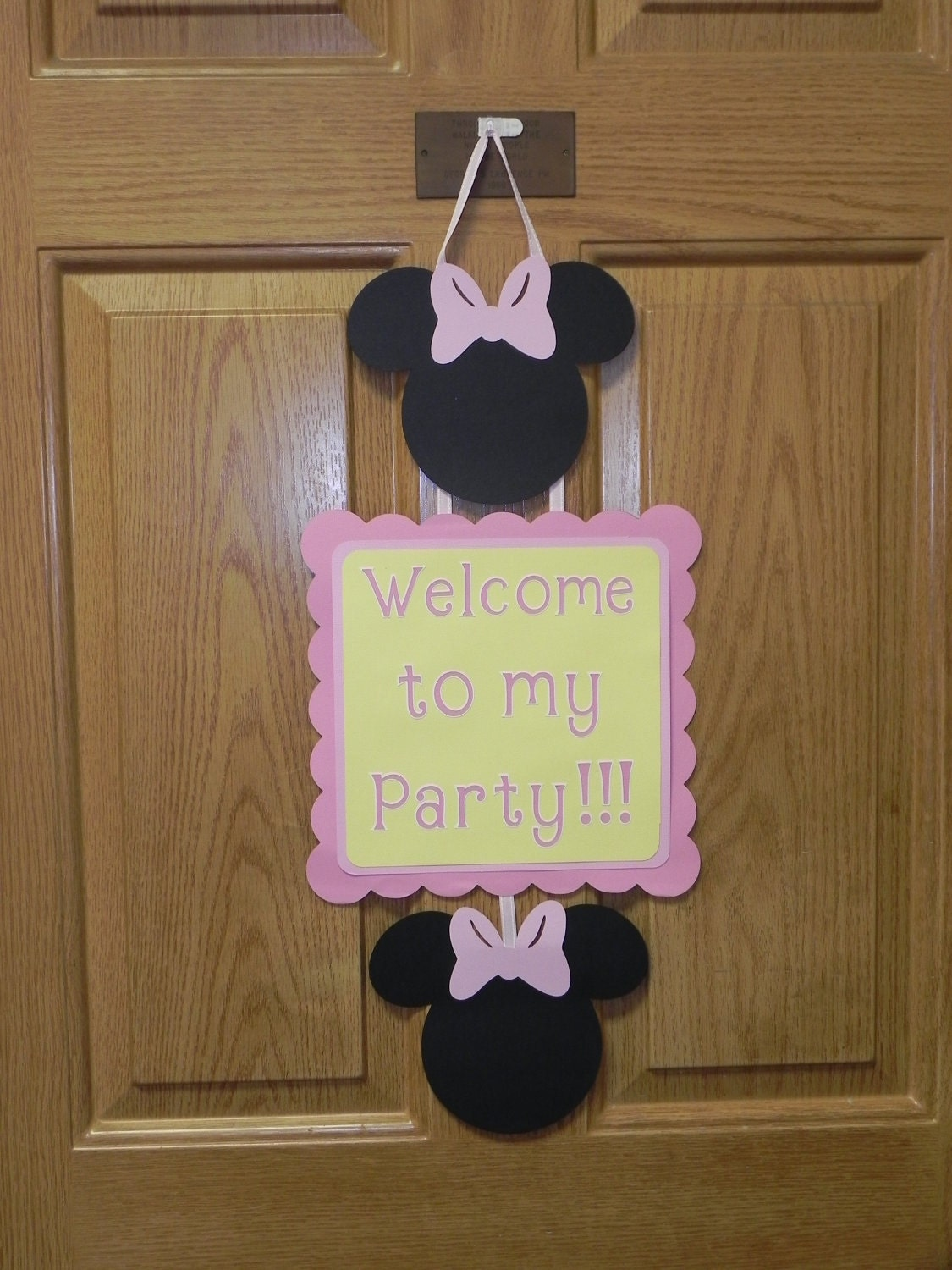 Items similar to baby minnie mouse pink yellow birthday for Baby shower door decoration