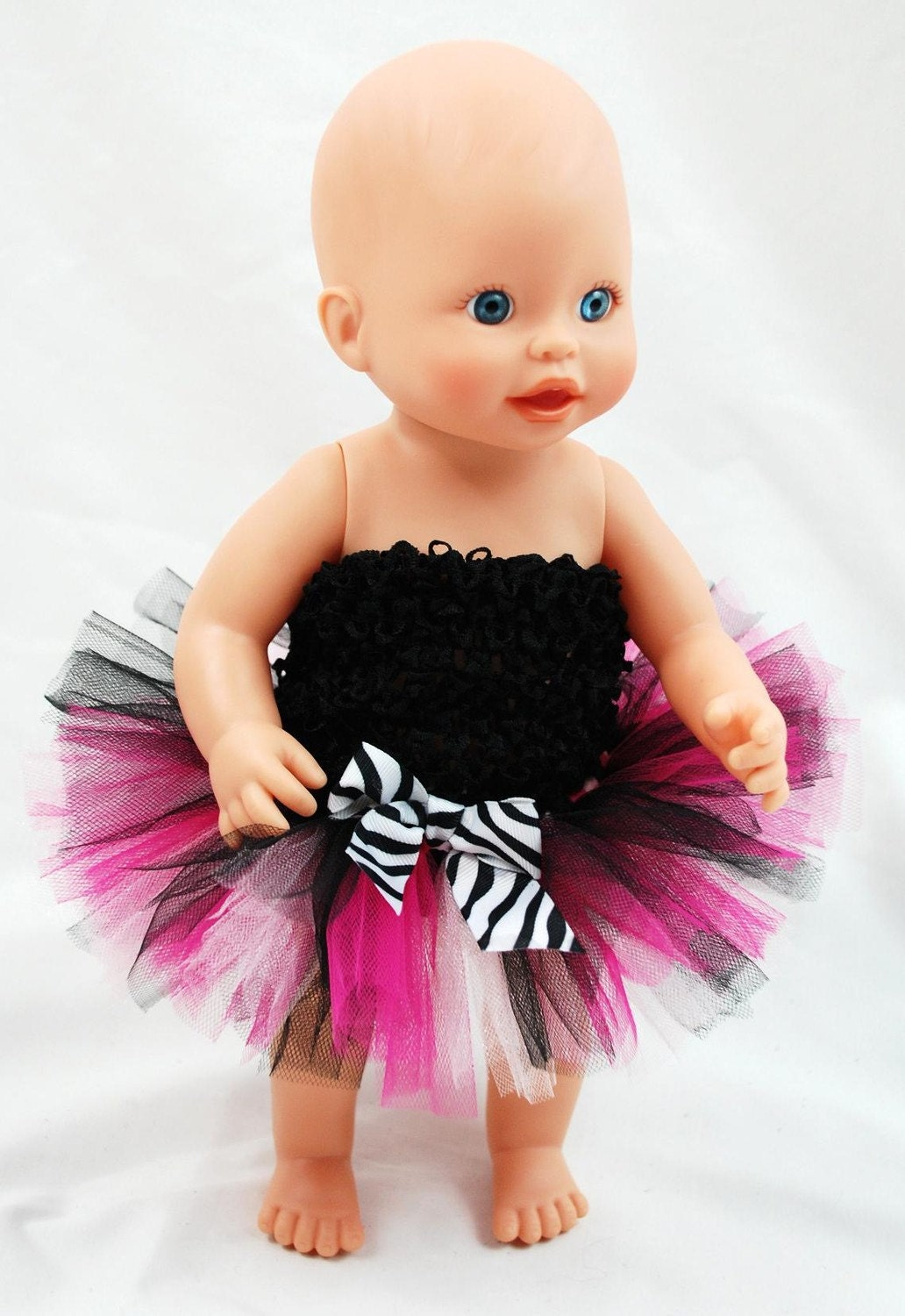 Hot Pink Zebra Doll Tutu - Fits American Girl Dolls and Baby Dolls