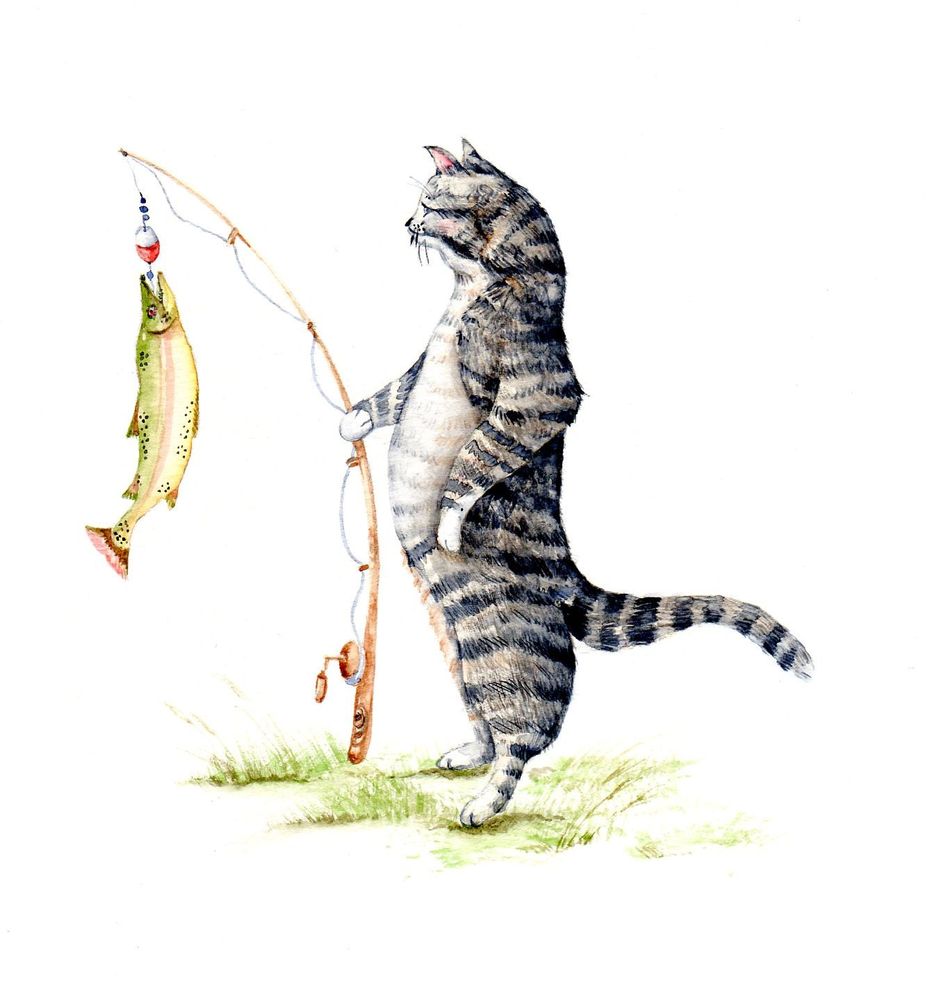 Cat with a fish watercolor original 8 x10 39 39 wildlife for Baby fishing pole