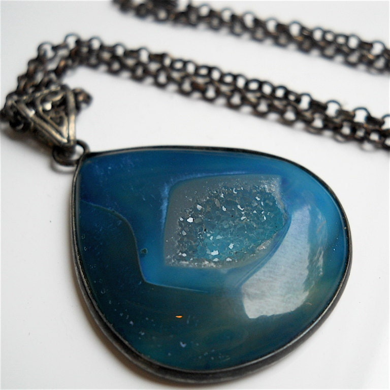 Necklace Pendant of Deep Sea Blue Druzy in Oxidized by pjclarke