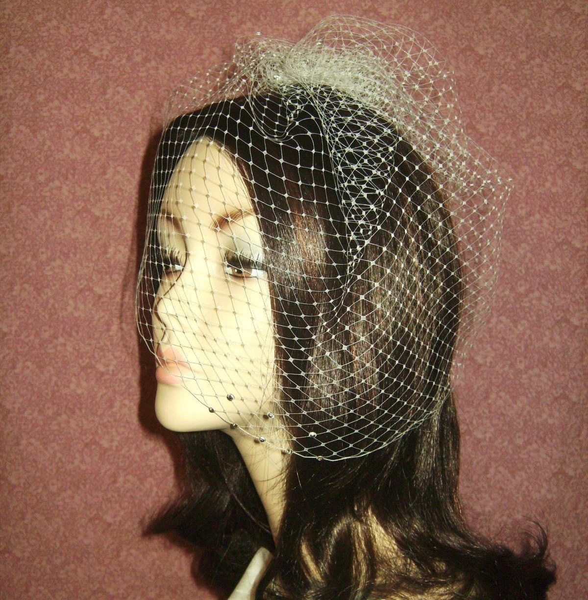 Long Side French Veiling Birdcage Blusher with Swarovski Crystals