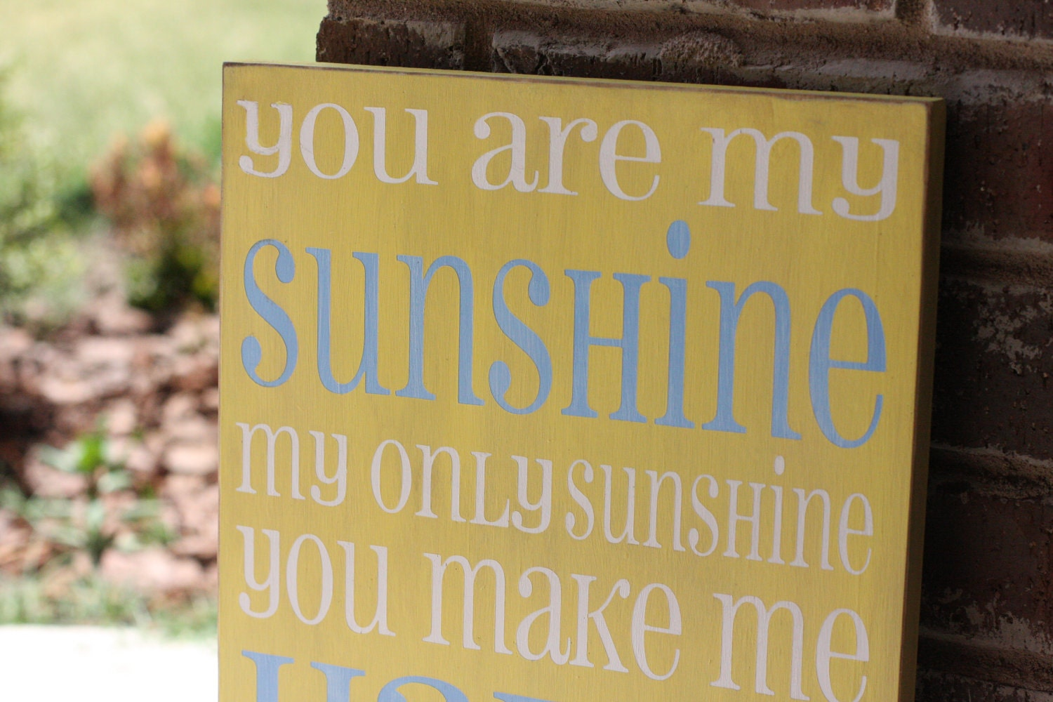 You are my Sunshine -typography word art, hand painted shabby chic subway art  sign