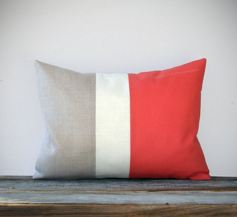 Coral Color Block Decorative Pillow with Cream and Natural Linen Stripes by JillianReneDecor Modern Home Decor Color-block - JillianReneDecor