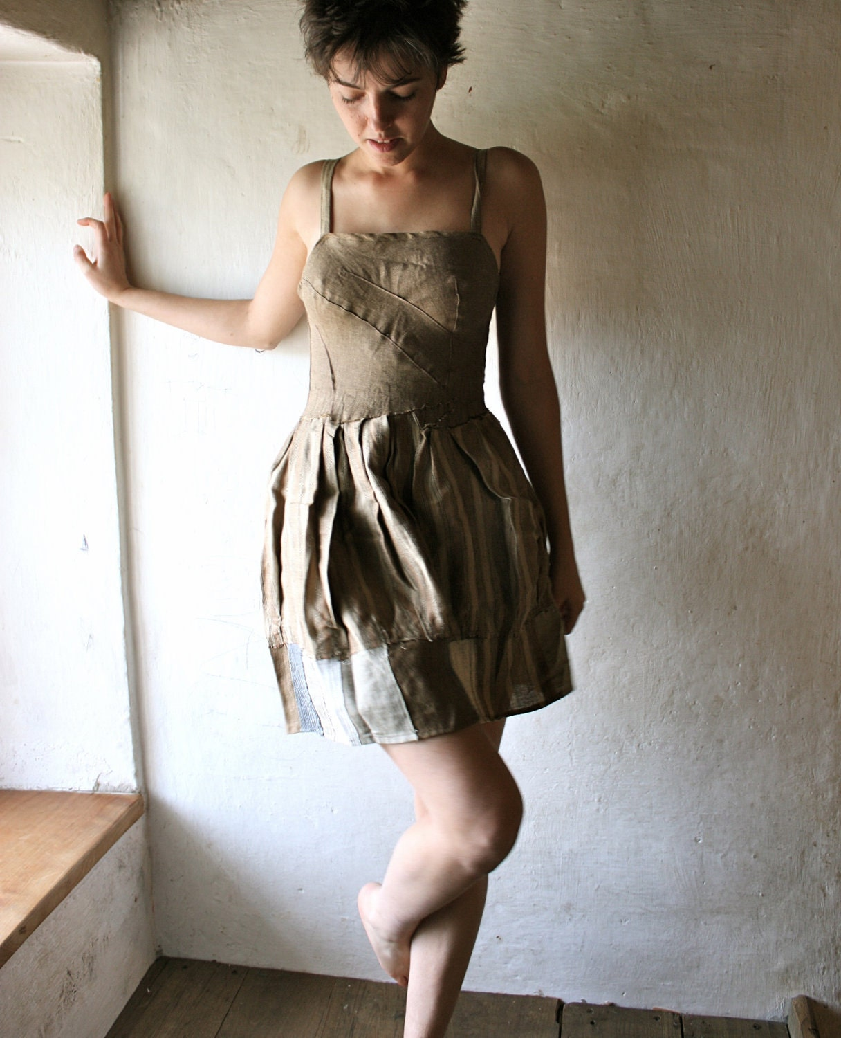 Natural Linen party dress with pleated bodice - larimeloom