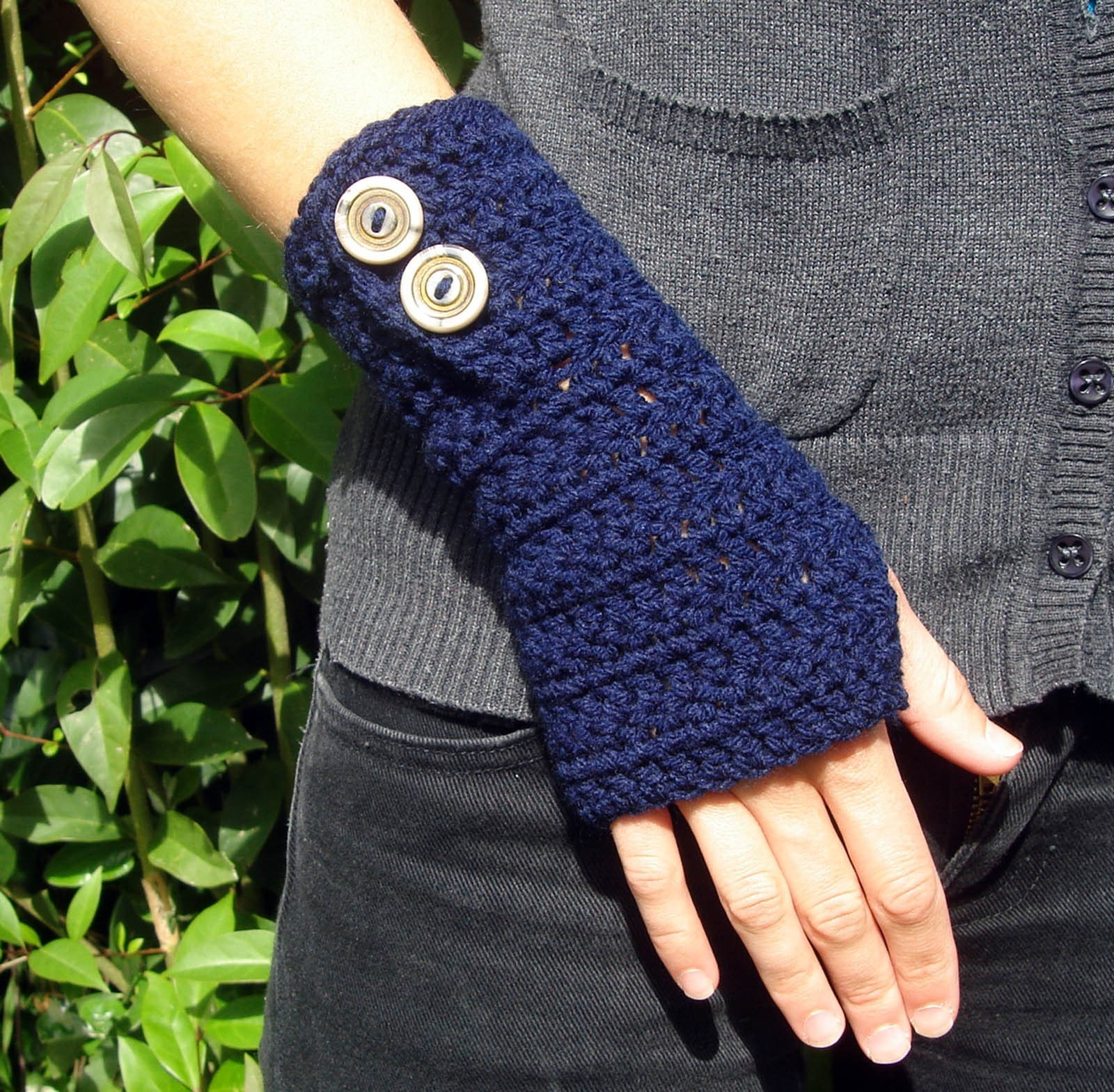 Ready to Ship Navy Crochet Armwarmers with Fancy Vintage Buttons - Vegan