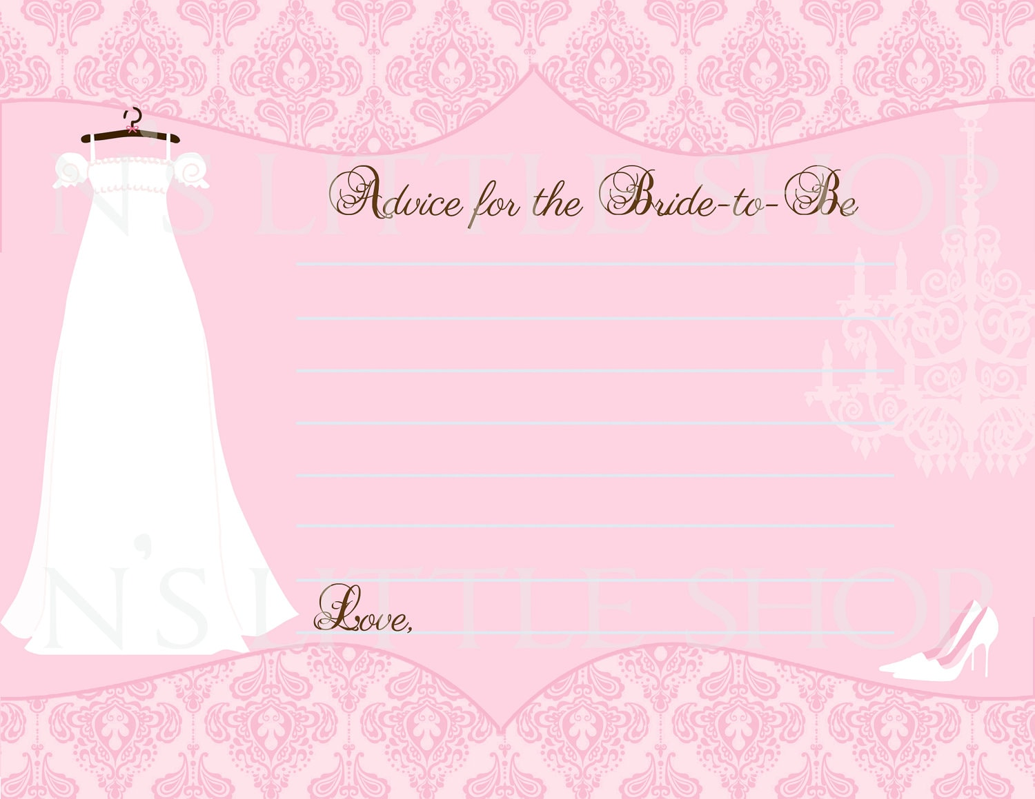 Bridal Shower Advice Card For The Bride To Be By Nslittleshop