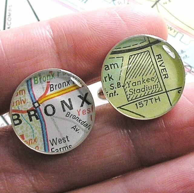 New York Yankee Stadium Vintage Street Map Sterling Silver Round Cufflinks.