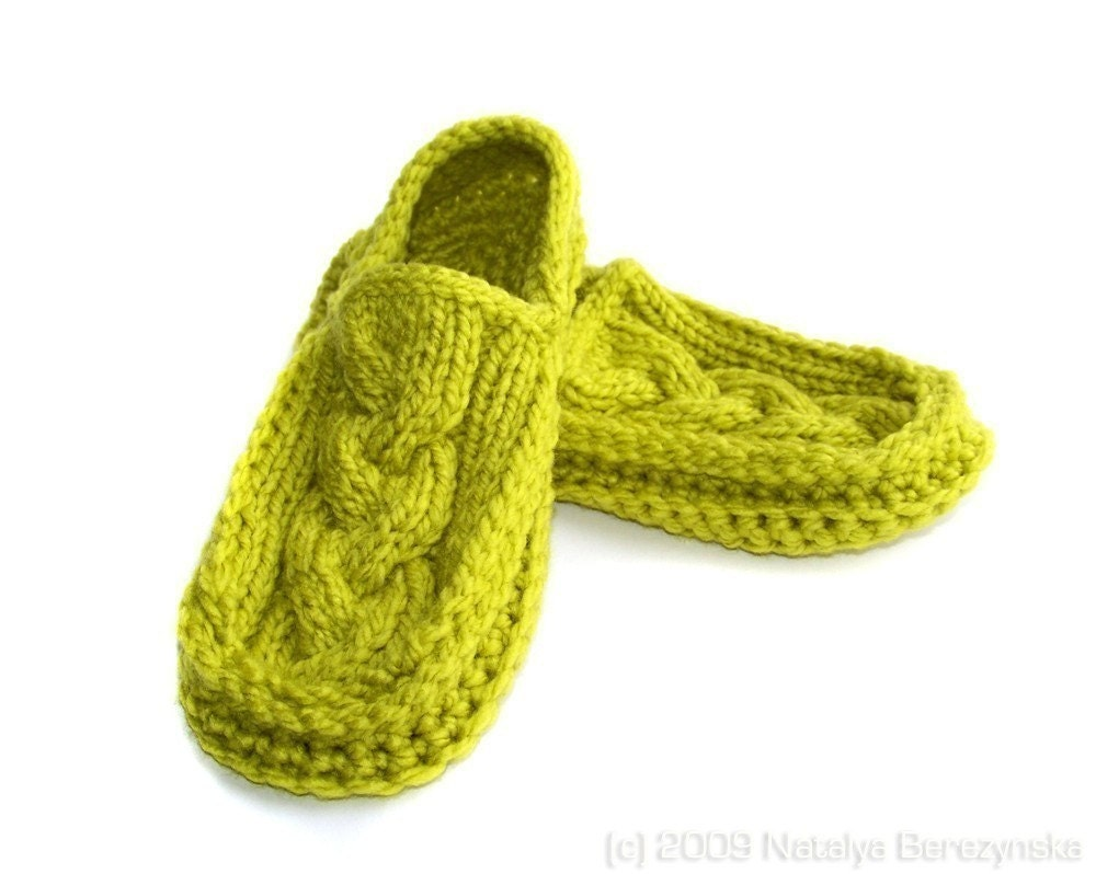 Knit Crochet Cabled Moccasin Slippers, Lime Green Shoes, Avocado Kiwi Grass Peridot Chartreuse Bright, Men Women Unisex