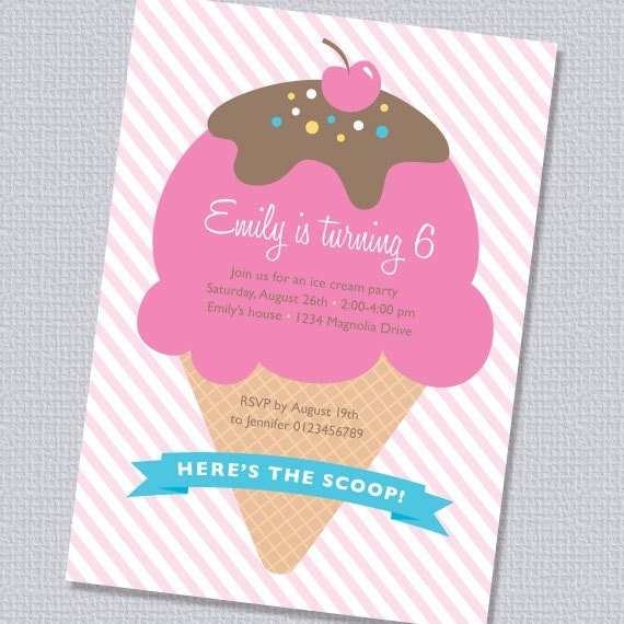 ice cream birthday party invitations – frenchkitten, Party invitations