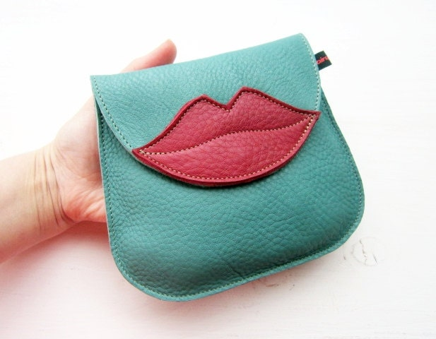 Handmade Leather clutch Purse, Bag, Jade and Berry leather KISS 1803