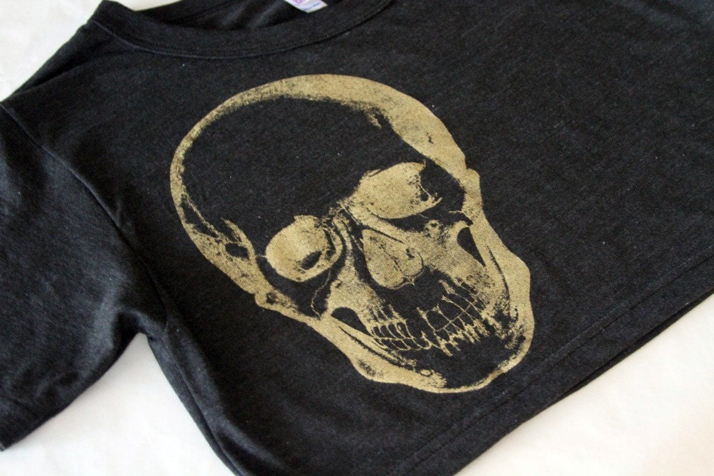 Cropped Tee -Golden Skull- American Apparel - One Size