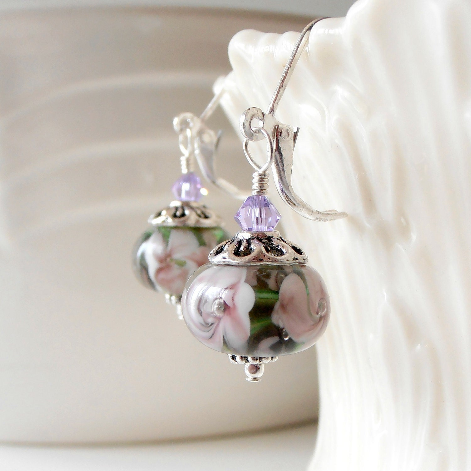 Glass Flower Bead Earrings Lampwork Jewelry P ...