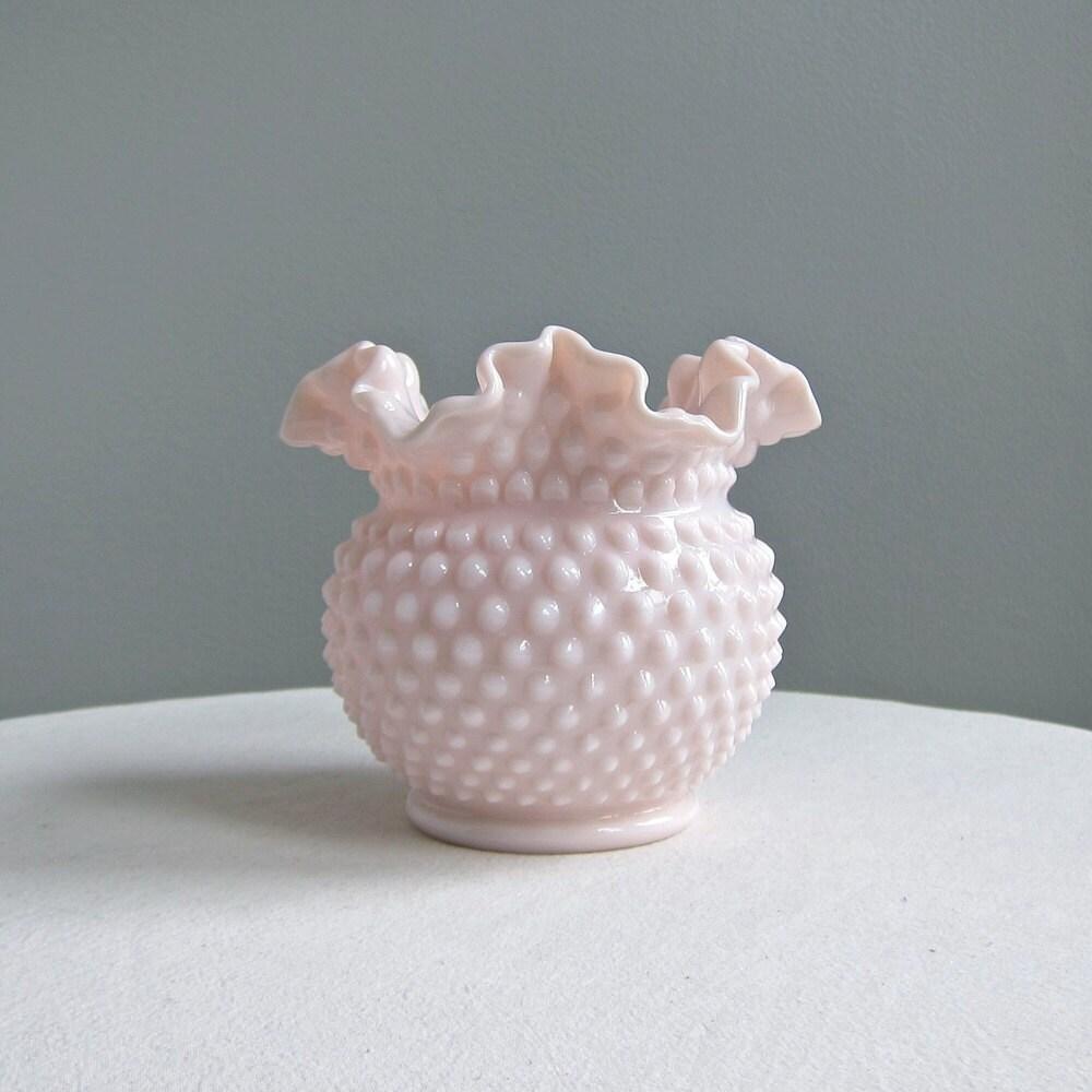 Pink Milk Glass Hobnail Vase by Fenton by BarkingSandsVintage Ruffled Milk Glass Vase Pink