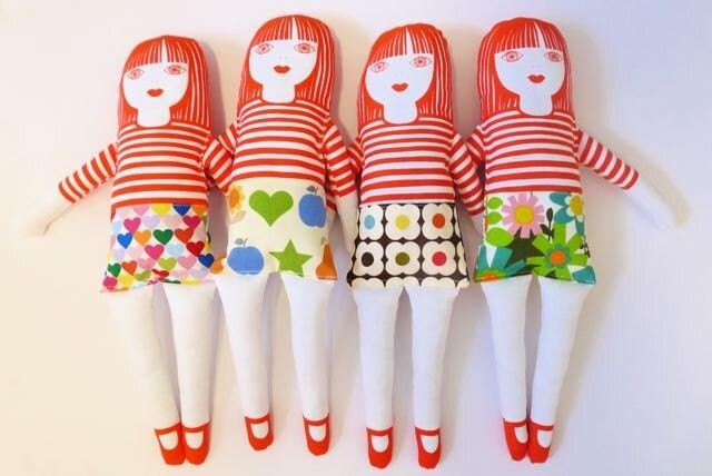 Handmade rag doll softie with Orla Kiely skirt