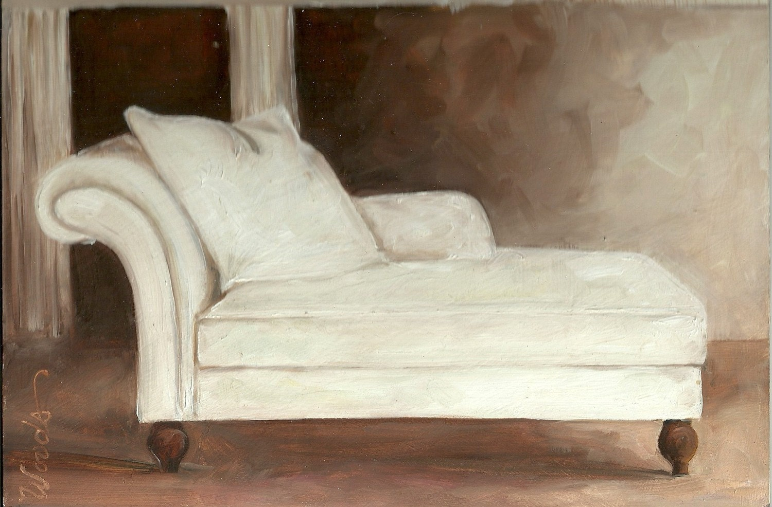 CHAISE LOUNGE Small Practice Painting by Lindy 6x9