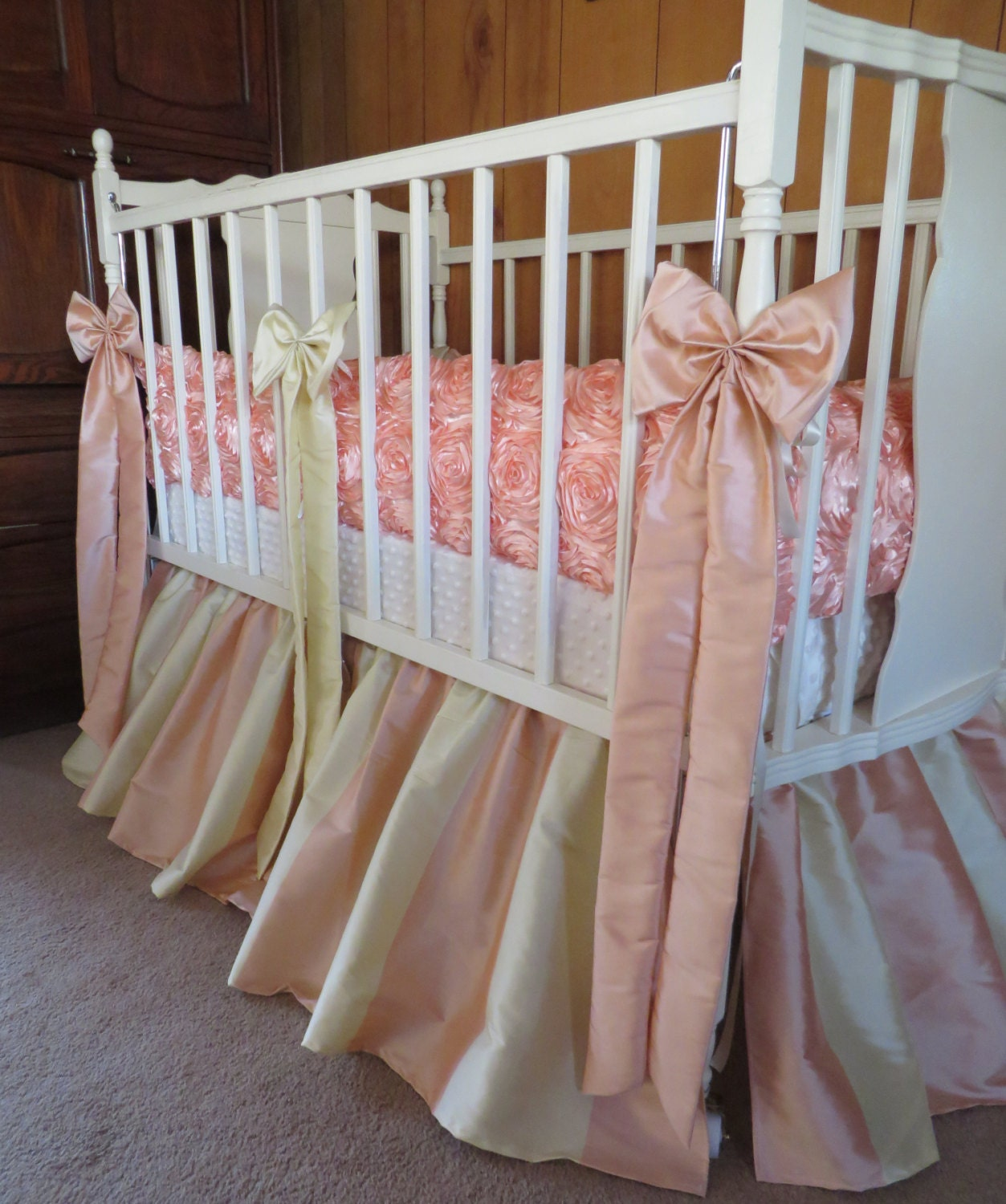 Just The Bumpers PEACH Rosette Bumpers By Sewwhatgrandma