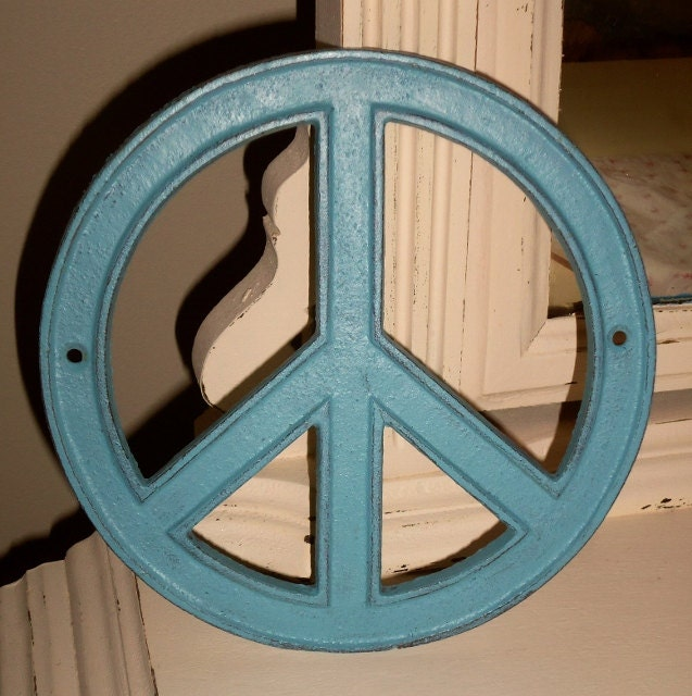 Peace Sign Wall Decor Metal : Cast iron peace sign aqua blue chic metal wall by