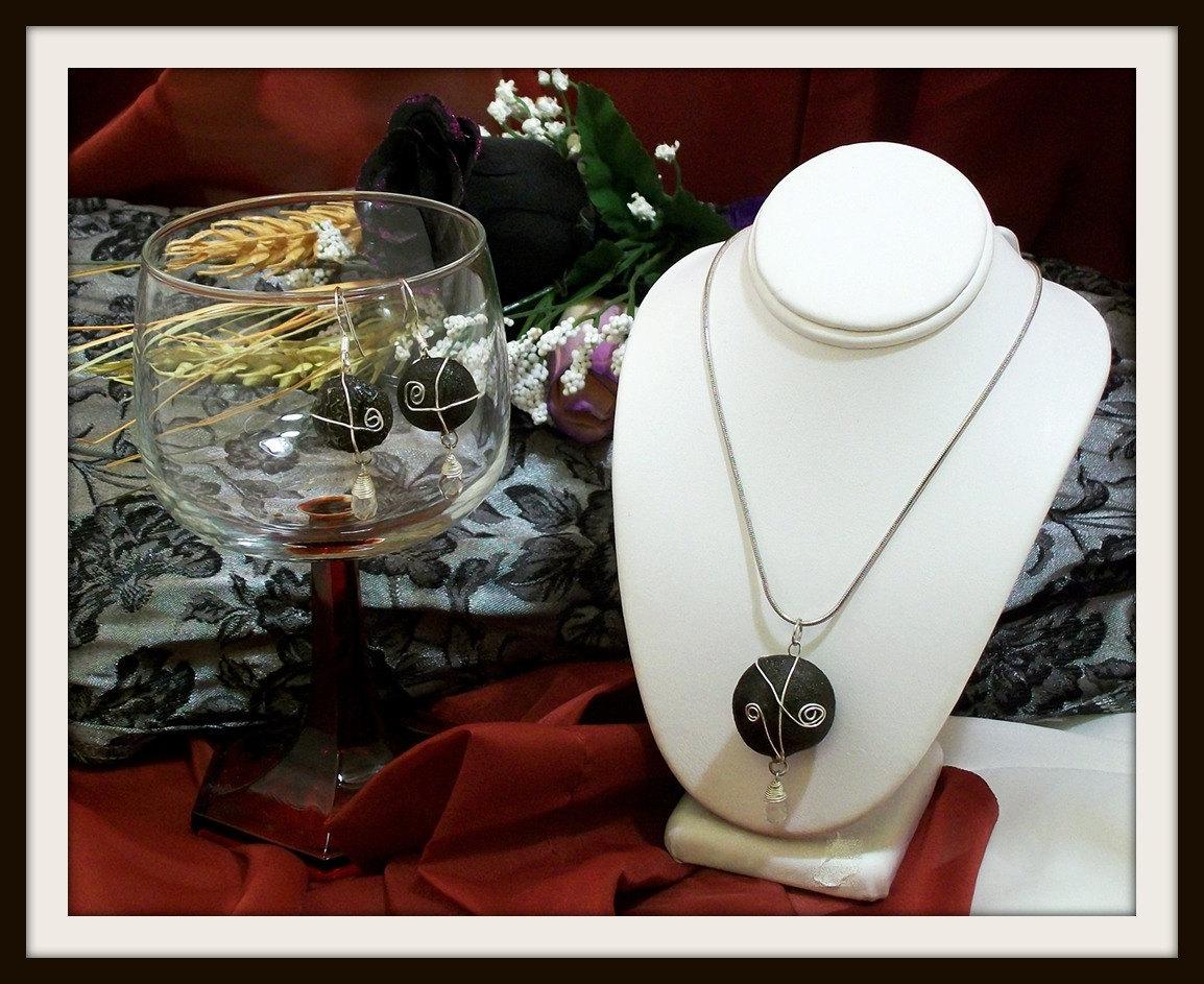 Reserved for M M Shaman, Chakra, Kansas Boji Power Stone Silver Necklace & Earring Jewelry Set