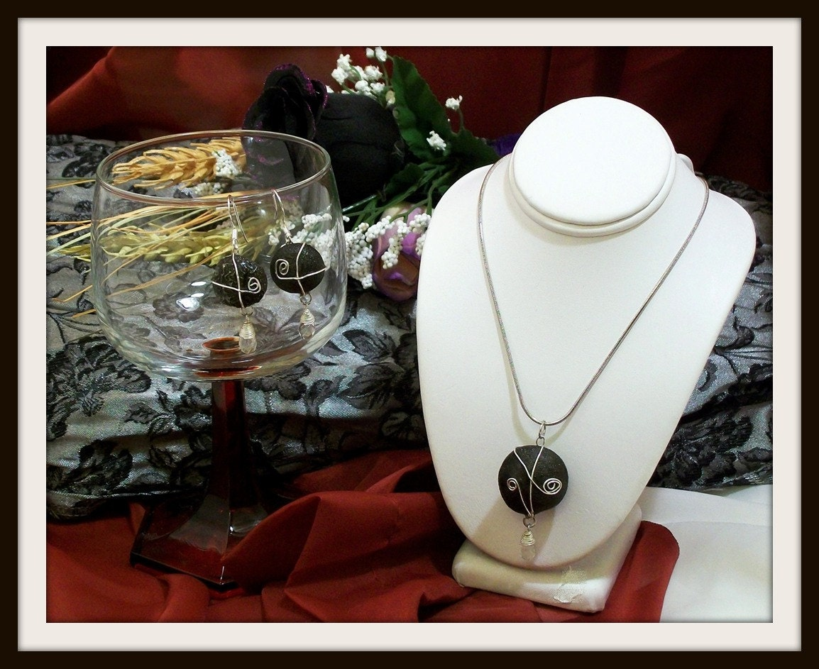Reserved for M M Shaman, Chakra, Kansas Boji Power Stone Silver Necklace & Earring Jewelry Set