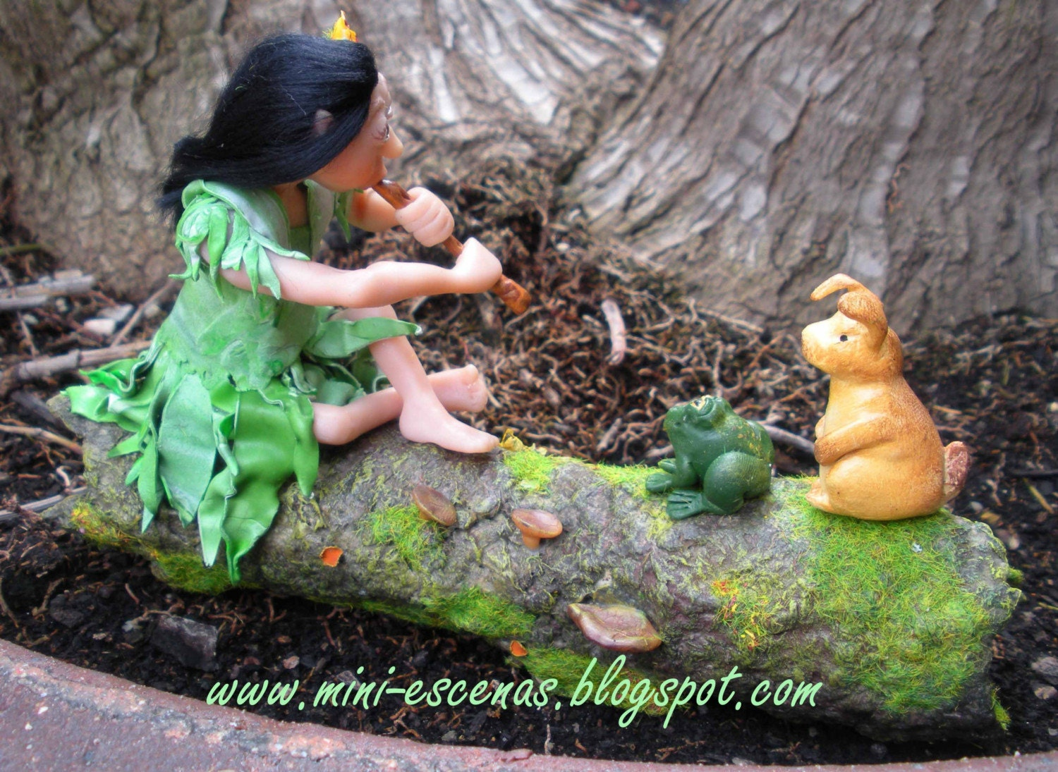 The Flutist Elf, OOAK miniature Fantasy for mini garden or dollhouse