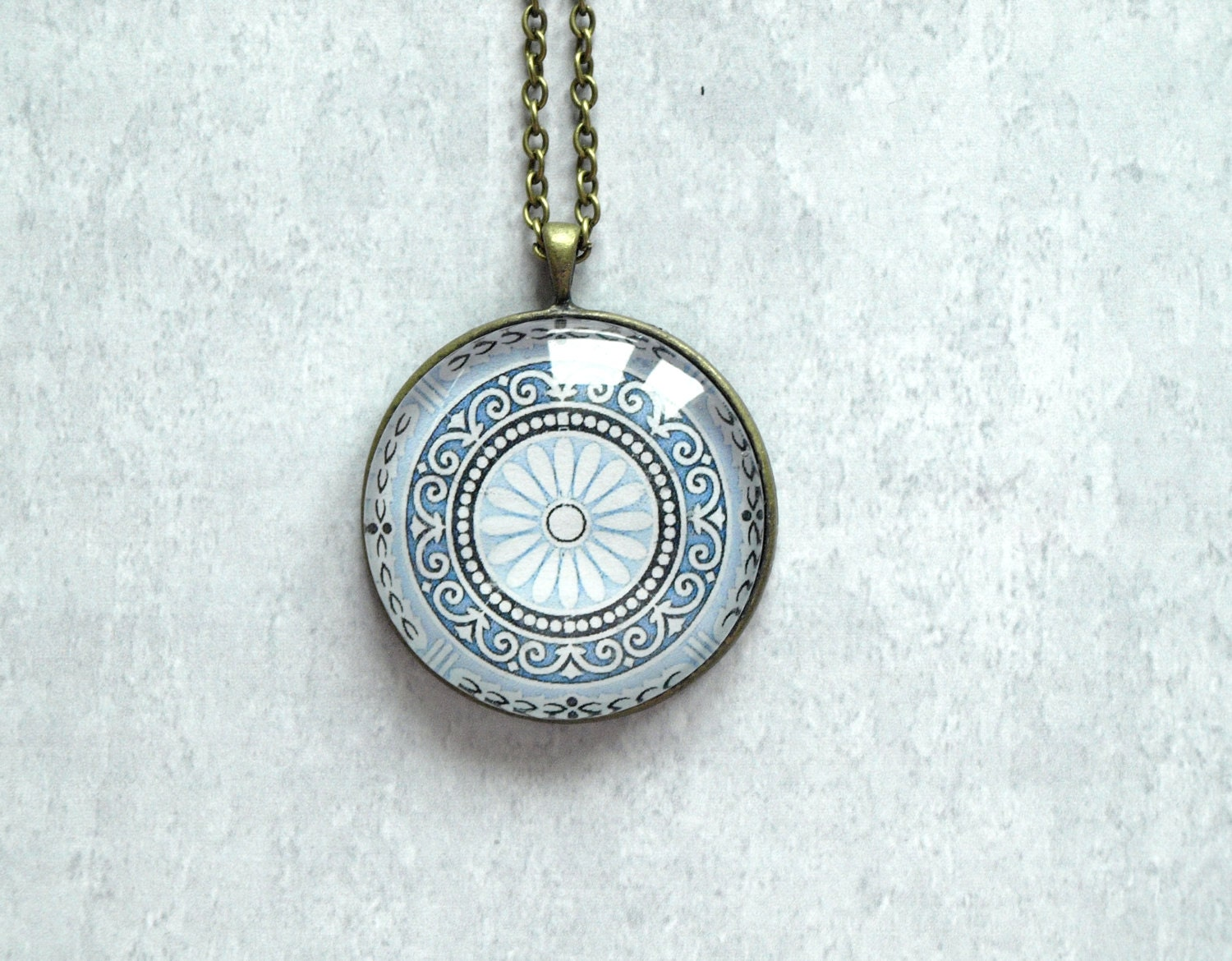 Blue Vintage Ornament pendant - oriental pendant necklace - Rosette pendant necklace - glass dome pendant- glass cabochon pendant - ShoShanaArt