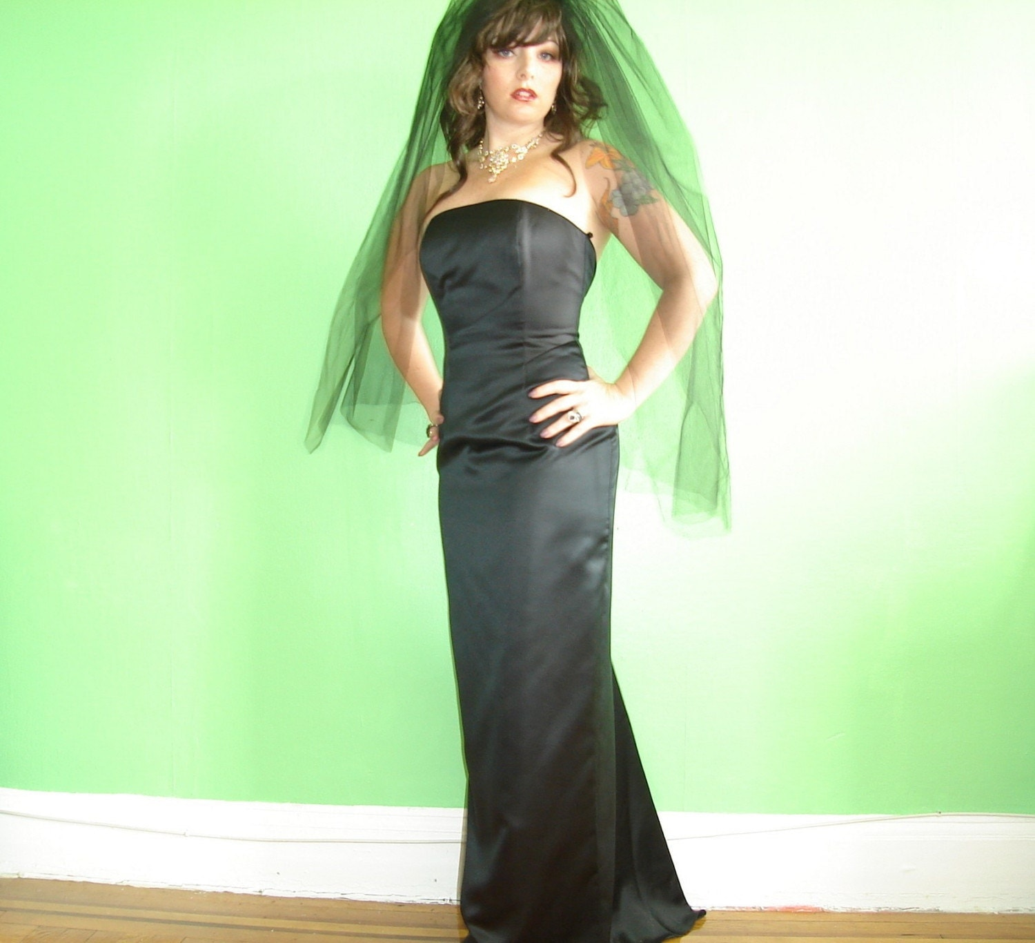 Black Satin full length Fishtail Dress