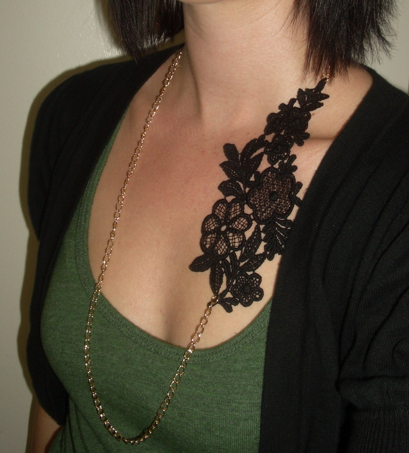 Vintage Inspired Lace Necklace  Black and gold by TessaKim on Etsy from etsy.com