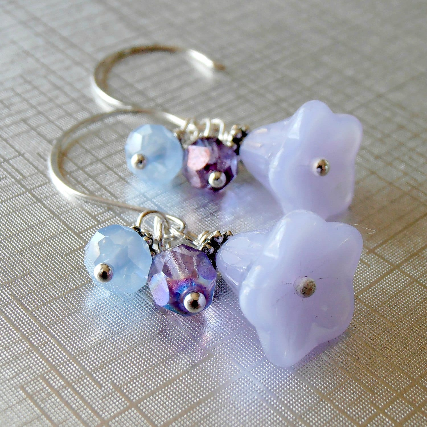 Lavender Bead Jewelry, Beaded Cluster Earring ...