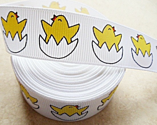 "Adorable yellow baby chicks hatching from an egg 7/8"" grosgrain ribbon Easter"